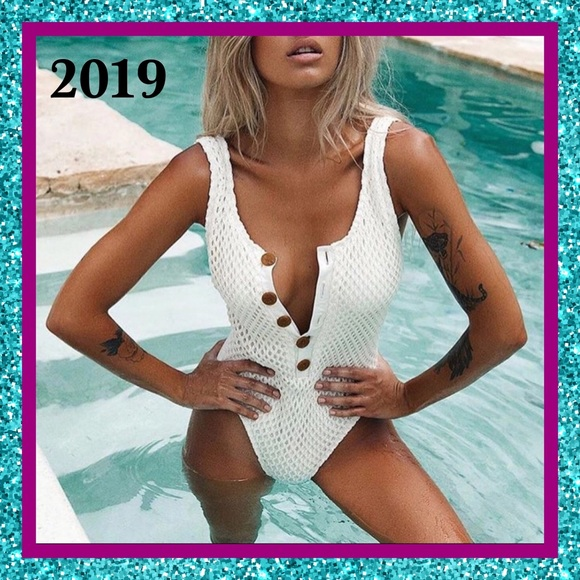 Other - BNWT-2019- Sexy White Netting High Cut Swimsuit